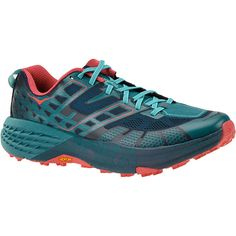 Hoka One One Speedgoat 2 Women's Navy Running ($140) ❤ liked on Polyvore featuring shoes, athletic shoes, navy, synthetic shoes, navy blue shoes, laced up shoes, navy shoes and rugged shoes