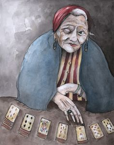 The Fortune Teller Art Print by Caitlin Louise Gypsy Fortune Teller, Fortune Telling, Tarot Readers, Card Reader, Occult, Art World, Photo Art, Cool Art, Illustration Art