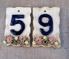 Ceramic door numbers house number plaque by Sallyamoss on Etsy