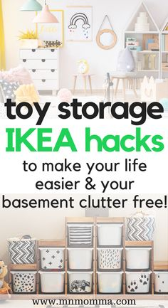 Toy Storage IKEA Hacks Genius IKEA toy storage hacks to help organize toys and reduce clutter! Living Room Toy Storage, Ikea Toy Storage, Toy Room Organization, Toy Storage Solutions, Baby Toy Storage, Small Space Storage, Playroom Organization, Kids Storage, Storage Hacks