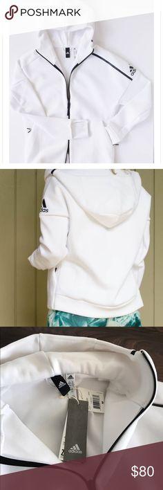 NWT Adidas ZNE Hoodie Adidas ZNE hoodie - white/black. Thicker fabric. Size medium. NWT! adidas Tops Sweatshirts & Hoodies