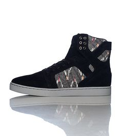 SUPRA Men's high top sneaker Lace up closure Abstract print throughout Suede accents Padded tongue with SUPRA logo Cushioned inner sole