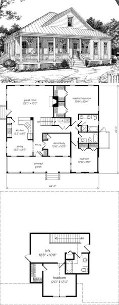 "Remove upper lvl & stairs. Remove fireplace. Reduce or remove den/study. Combine Master bed closets. Remove master bath tub and elongate shower. If needed, remove dining area, turn eating bar into larger island and add more seats. - ""Southwood home plan SL-1029 ~ exclusive design for Southern Living by Allison Ramsey Architects, Inc. Main floor 1597sf, upper floor 421sf = 2018sf. 3 (or 4) bdrm, 3 baths, fireplace, crawlspace"""