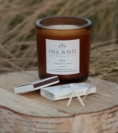 Inland Candle Co. - All natural soy candles hand poured in the Northwest.  Minimal design, natural, man candle, wild honeysuckle, home goods, candles, inland candle co, matchbox, minimalist, simple, birch, tobacco and pine.