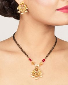 Buy the best Necklace Set Indian Jewelry online from the top Necklace Set manufacturer. Shop Kalya Nakshatra CZ Black Beads Necklace Set online from the top brand for the best traditional and classy looks. Pendant Jewelry, Beaded Jewelry, Beaded Necklace, Gold Pendant, Gold Jewelry, Gold Mangalsutra, Gold Jewellery Design, Necklace Online, Jewelry Patterns