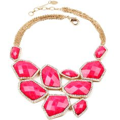 Amrita Singh Austrian Crystal & Fuchsia Easter Island Statement... ($20) ❤ liked on Polyvore featuring jewelry, necklaces, amrita singh, statement necklace, amrita singh necklace, fuchsia necklace and sparkly necklace