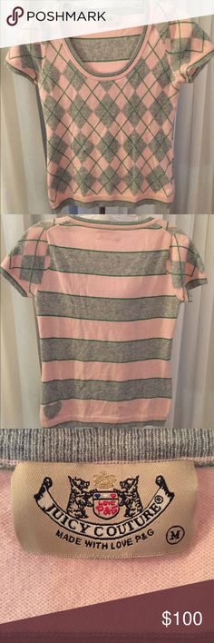 Authentic Juicy brand cashmere top-M 100p cashmere and so adorable. Love the juicy heart on the back left bottom! Argyle and stripes cute and quirky Juicy Couture Tops