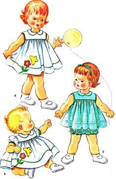 Cute idea for Retro Mode, Mode Vintage, Vintage Girls, Vintage Children, Childrens Sewing Patterns, Kids Patterns, Vintage Sewing Patterns, Patron Vintage, Little Girl Dresses