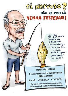 Caricatura para convite de aniversário com tema Pesca. #card #birthday #fishing