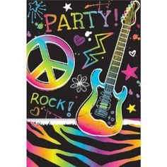 Neon Rock and Roll Guitar Invitations