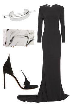 Jen Atkin x Chloe + Isabel bun cuff, Stella McCartney dress, L'Afshar clutch and Francesco Russo heel