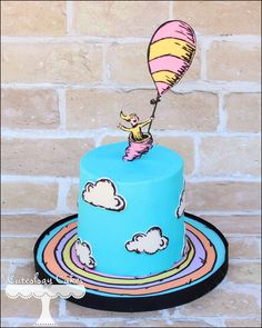 Oh, the Places You'll Go themed smash cake for a Dr. Seuss 1st Birthday www.facebook.com/i.love.cuteology.cakes
