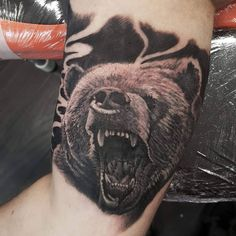 bear portrait inside bicep black and grey tattoo www.kyle-walker.com appt@kyle-walker.com for appointment details