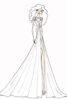 Wedding dress sketch for Savannah Guthrie by Hayley Paige