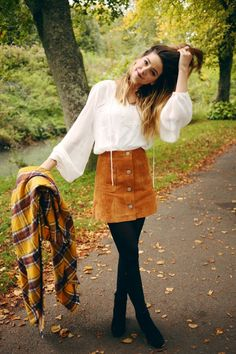 Suede skirts like these are so cute! Pair them with tights and plaid accessories for the ultimate fall look.
