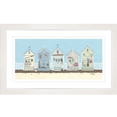 Buy Sally Swannell - Row Of Beach Huts Framed Print, 47 x 78cm online at JohnLewis.com - John Lewis