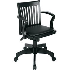 Office Star Products Deluxe Wood Banker's Chair with Arms and Padded Seat $132.00 at Walmart.com