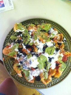 Pork rind loaded nachos.  Pork rinds in a salad.  Yay for crunch!