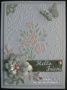 "pamscrafts: Rose Pavilion - Anna Griffin/Cuttlebug  ""Rose Pavilion"" embossing folder Heartfelt creations ""Sun kissed Fleur"" stamp and die. memory box. Pippi and Isabella butterfly's dies. cherry lynn leaf flourish strip die. Whimsy corner die.. Elizabeth crafts ""Hello / Friends"" dies. pro markers /ribbon."