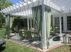 Among different pergola and awning styles, retractable awning pergolas are unique and wonderful ideas. This awning pergola style is usually made in normal style… Outdoor Rooms, Outdoor Living, Outdoor Decor, Gazebos, Arbors, Pergola Curtains, Privacy Curtains, Mosquito Curtains, Tab Curtains