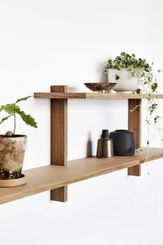 The Nicolaj Bo wall mounted shelves can be customized as you please. Up to 3 meters long and several stories high. With integrated LED panel and dimmer. All to be experienced at Teglholmen, Copenhagen. Wood Wall Shelf, Wall Mounted Shelves, Wooden Shelves, Floating Shelves, Pallet Wall Shelves, Diy Furniture, Furniture Design, Muebles Living, Diy Regal