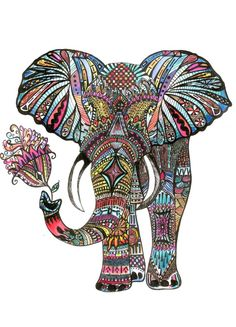 Mandalas, doodles and zentangles in this wonderful elephant