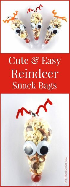 Easy reindeer snack bags recipe and tutorial - a fun Christmas party food idea for kids from Eats Amazing #Christmas #ChristmasFood #funfood #kidsfood #snack #cutefood #foodart #reindeer #giftideas #diygift #christmasgifts