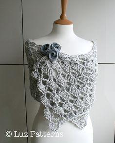 Häkeln Muster, Mädchen, Frauen Spitze Schal/Achselzucken, wrap Muster, Schal häkeln Muster  Sofort-Download!, schöne Sommer-Abend-Wickel mit Blumen häkeln Muster. Einfach und schnell zu machen, kann es sehr Kleid oben mit der ganzer Kleid oder ziemlich lässig mit Jeans sein!. Ich habe enthalten Bilder illustrieren diese schöne Spitze erstellen Gehäkelter Stiche. Das Muster enthält die Blumenmuster häkeln.  Wie immer können Sie gerne Ihre Arbeit von diesem Muster zu verkaufen. (Keine…