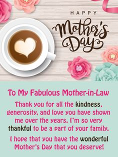 Trendy Birthday Wishes For Mother In Law Flower Cards Ideas Happy Mothers Day Wishes, Happy Mothers Day Images, Happy Mother's Day Card, Mother In Law Quotes, Happy Mother Day Quotes, Birthday Greetings For Mother, Birthday Greeting Cards, Message For Mother, Mom In Law