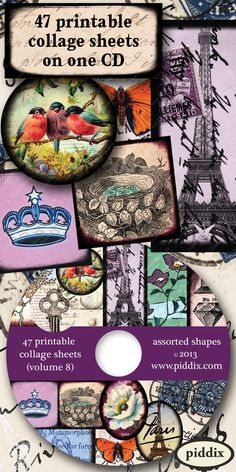 CD full of 47 different printable collage sheets in assorted shapes and sizes, from piddix. Perfect for mixed media and jewelry crafts.