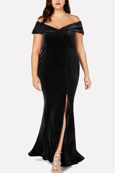 a12c622e52e Women Black Off Shoulder Slit Sexy Maxi Plus Size Velvet Dress - 3XL