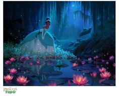 The Princess and the Frog – Tiana and the Frog Giclee Art Disney Nerd, Disney Fan Art, Cute Disney, Walt Disney, Disney Princesa Tiana, Frog Princess, Disney Princess, Pinturas Disney, Disney Aesthetic
