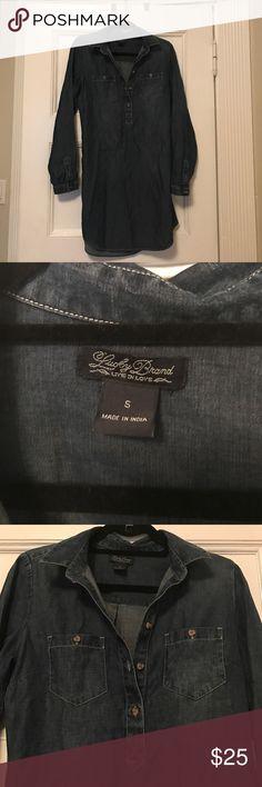 Lucky Brand denim dress Dark denim lucky dress. Soft material, really comfy and cute Lucky Brand Dresses Long Sleeve