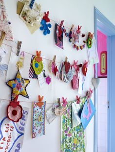 Add some of your child's handmade ornaments to the art display wall!