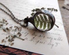 woodland necklace, fern necklace, terrarium necklace, terrarium necklace, mariaela, boho, gypsy, wedding, bridesmaids necklaces, sun-catcher