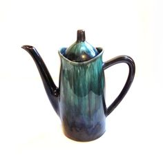 Vintage Blue Mountain Pottery Teapot, Green Drip Glaze