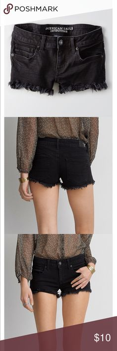 American Eagle Shorts Black denim shorts, low rise. Soft denim. Good condition. American Eagle Outfitters Shorts Jean Shorts