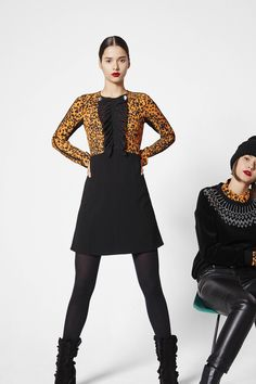 Short Golden and Black Animal Print Sweater paired with a Black Short Dress and Black Tights - Sonia by Sonia Rykiel Fall 2016 Ready-to-Wear Fashion Show