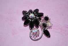 Vintage Black and Crystal AB rhinestone Flower by CrazyAuntDesigns