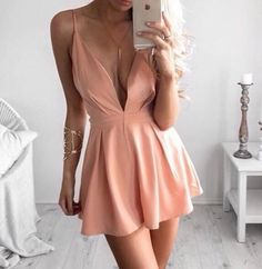 v neck homecoming dress, pink homecoming dress,party dress,short prom dress,spaghetti strap party dresses
