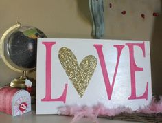 LOVE Wood Sign with GOLD Glitter Heart, Valentine's Day Decor, Pink Sign, BD Design, Rustic Art Sign, Shabby Chic, Valentine Day Gift, Love by bddesignblog on Etsy https://www.etsy.com/listing/217876042/love-wood-sign-with-gold-glitter-heart