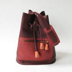 Zig Zag leather tote bag, shoulder bag, burgundy van La Lisette op DaWanda.com