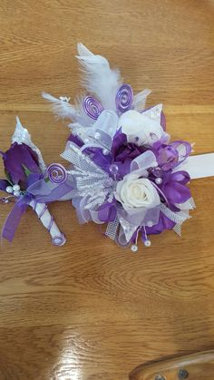 Purple and lavender corsage set from Hen House Designs www.henhousedesigns.net