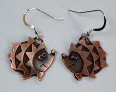 Hedgehog Drop Earrings in Copper Finish by SharonMcSwiney on Etsy, £30.00