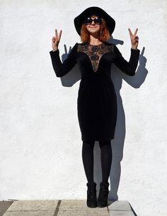 90s Black Velvet Dress Little Black Dress Julianne by tomacrafts