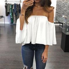 Блуза оборки с плеча пуловеры Женщины Сплошной цвет шифон блузка Плюс Размер Женская одежда Chemisier Femme # 1229