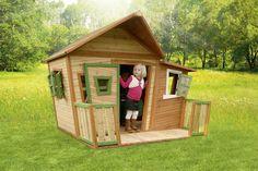 Lisa ist ein Holz-Spielhaus mit einer asymmetrischen Tür und Fenstern und einer Veranda. Das Spielhaus Lisa ist so groß, dass du sogar darin…
