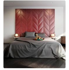 Pin 3. This gorgeous herring bone leather wall padded bed head caught my eye through Pinterest. Had to pin it for an inspiration reminder.