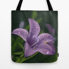 """""""Purple Lily Flower"""" Tote Bag by Savousepate on Society6 #totebag #bag #green #purple #lys #lily #flower"""