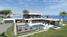 VUES EXTERIEURES - villa contemporaine, villa design contemp, toit terrasse, maison moderne Independent House, Pool House Plans, Best House Plans, Bungalow Haus Design, Modern House Design, Villa Design, Style At Home, Sims 4 House Building, Contemporary Building